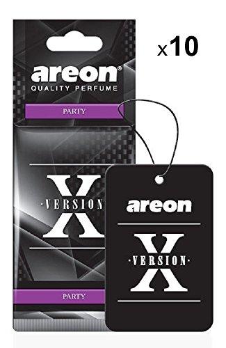AREON X Auto Lufterfrischer Party Anhänger Aufhänger Spiegel Duft Autoduft Schwarz Pappe 2D (Set Pack x 10) (Cooles Auto-spiegel-zubehör)