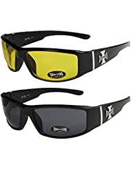 2er Pack Choppers 6608 Sonnenbrillen Motorradbrille Sportbrille Radbrille in den Farben schwarz, anthrazit, silber und weiß