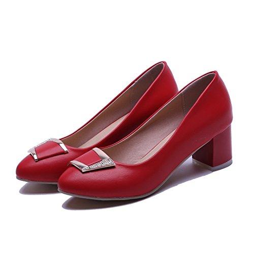 Voguezone009 Femme Pull Round Toe Talon Moyen Shimmer Pure Ballerines Rouges