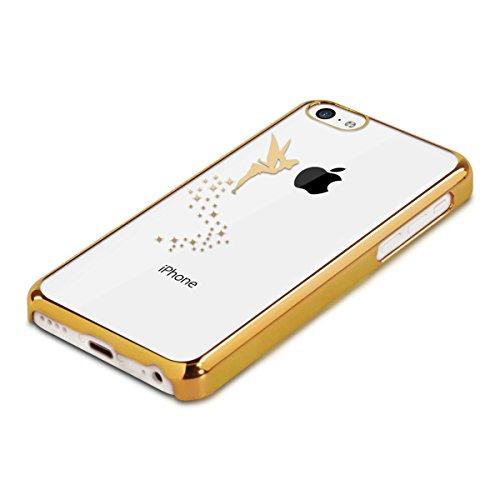 kwmobile Cover per Apple iPhone 5C - case protettiva per cellulare custodia smartphone back cover trasparente Design fata argento trasparente fata oro trasparente