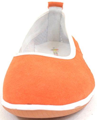 Mesdames/d'été pour femme en cuir/daim antidérapant sur/Ballet/pompes/plates/Chaussures Orange