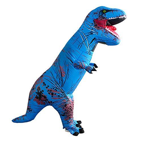 Für Erwachsene Kostüm T Rex - AmaMary t-rex kostüm Erwachsene, Erwachsene aufblasbare Tyrannosaurus Rex Dinosaurier Kostüm Cosplay Blow Up Outfit (blau)