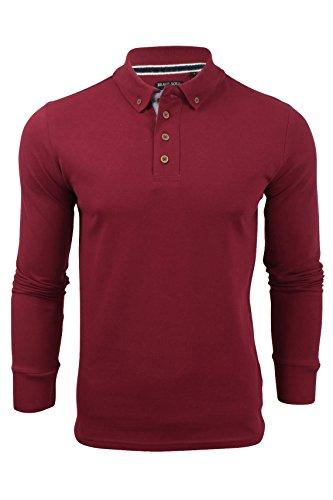 hommes-polo-t-shirt-par-brave-soul-lincoln-pique-manche-longue-rubis-vin-l