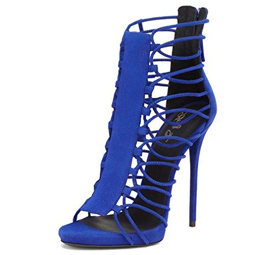ENMAYER Femmes Gladiator Talon Plat Talon Ouvert Talon Bottines Chaussures de Conception en Cuir Verni Sandales Retour Zip Fermeture Chaussures Plus Size Bleu(Suède)