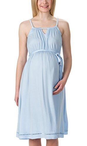 bellybutton Schwangerschaftsmode Damen Kleid Anett - Kleid Ohne Arm, Blau (Skyway 3018), 34