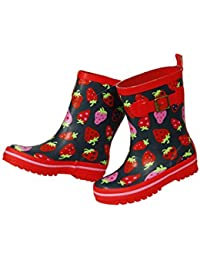 MaxiMo Damen Gummistiefel, Damen Regenstiefel aus Naturgummi, Rot Motiv