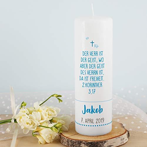 Striefchen® Taufkerze mit Lebensbaum und Aufdruck des Namen und Datum sowie Taufspruch Weiß - Blau - 4