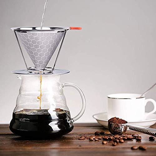 Gaddrt Kaffeefilter Bienenwaben-Edelstahl-Kaffeefilter-Kaffeefall mit abnehmbarem Getränkehalter