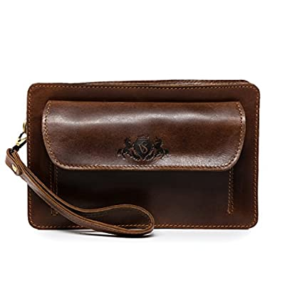 SID & VAIN wrist bag - man men's bag CORNWALL Vintage-Look | leather bag men´s bag brown-cognac real leather - mens-carry-all-organiser-bags