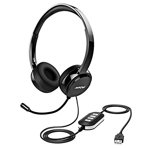 Mpow Chat Headset, Multifunktionale USB Headset & 3.5mm Computer Headset Stereo Sound Audio Kopfhörer für Skype Anrufe Teamspeak Konferenz Mac PC und Smartphone, Tablet( Rauschunterdrückung-Soundkarte & Online-Kontrolle)