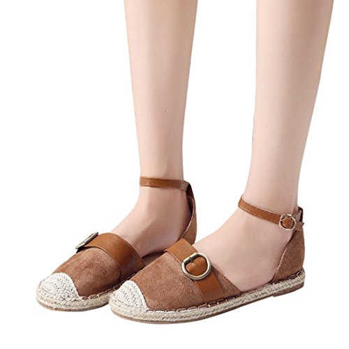 OYSOHE Damen Flat Lace Up Espadrilles Sommer Chunky Urlaub Sandalen Schuhe Strap Schuhe Sandalen Stroh Leinen Riemen Schuhe (37, Khaki-1) (Lace-up-espadrille)