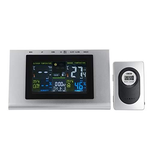 ExcLent Lcd Estación Meteorológica Temperatura Reloj Termómetro Digital Humedad Con Sensor