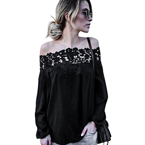 New York Tweed-jacke (NPRADLA 2018 Damen Shirt Langarm Schulterfrei Einfarbig Elegant Herbst Frauen Tops Spitze Sprüche Casual Bluse T Shirt)