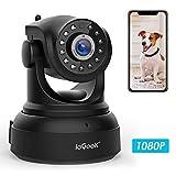 Caméra IP WiFi, ieGeek 1080P HD Caméra de Surveillance D'intérieur sans Fil, Caméra Sécurité Pan/Tilt avec Audio Bidirectionnel, Vision Nocturne, Alerte de Détection de Mouvement, Email Push -Noir