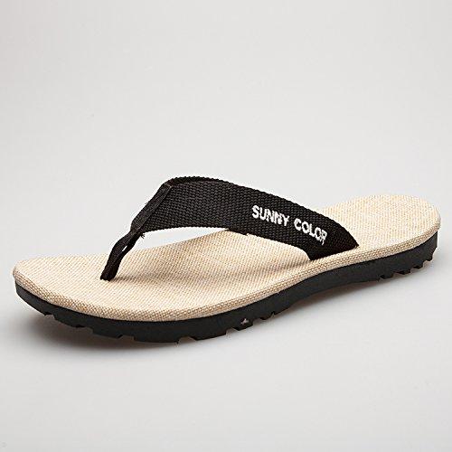 Xing LIN, sandali uomo pantofole, Marea estate nuove di lino e semi di lino black