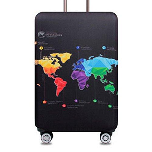 Bestja Elástico Funda Protectora de Maleta Luggage Protective Cover, viaje equipaje cubierta Carretilla caso protectora cubierta cabe 18-32 pulgadas equipaje (Map, M)
