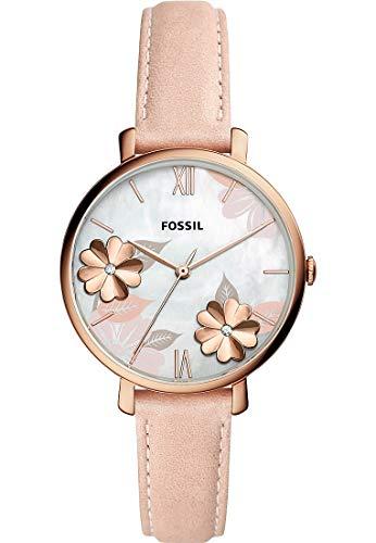 Fossil ES4671 Uhr Damenuhr Lederarmband vergoldet 3 bar Analog Rosa