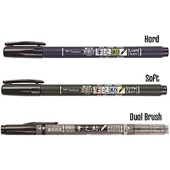 Fudenosuke 2X Harte Tombow Fude Brush Pen 2X Weiche Spitze 4er Set