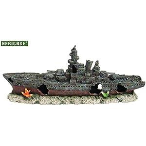 [Gesponsert]Heritage Pet Products Modell eines Kriegsschiffes fürs Aquarium, Schiffswrack, handbemalt