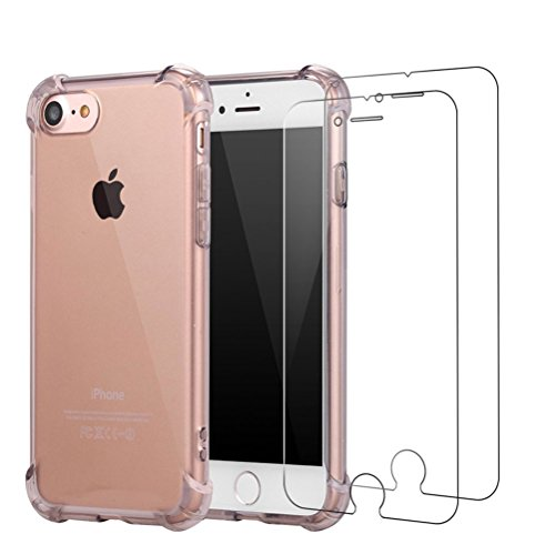 Cover iPhone 7 Plus + [2 Pezzi] iPhone 7 Plus Pellicola Vetro Temperato, Bestsky AntiUrto Shock Absorbing Pannello Posteriore Trasparente Silicone Custodia per Apple iPhone 7 Plus Grigio