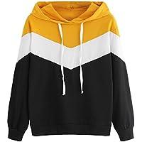 Sweatshirt Femme Imprimé, LMMVP Femmes Automne Occasionnelles Patchwork Manche Longue Sweat à Capuche Pullover Sweat-shirt Chemisier (S, Noir)