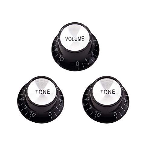 HEALLILY 3 stücke Artibetter 3 Stücke Lautstärkeregler Aluminium Metall mit Flat Top für Gitarre Bass Teile Zubehör Silber Top 1 Bände 2 Töne (schwarz) - Haltbare Aluminium-metall -