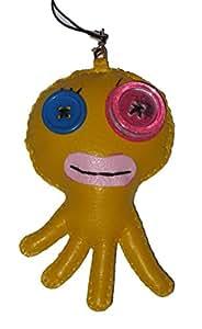 Babiole porte clé poulpe jaune - accessoire sac en cuir