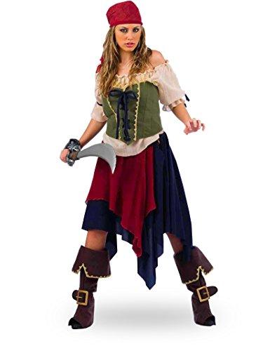 Elbenwald Piratin Kostüm mit Rock, Mieder, Kurze Bluse, -