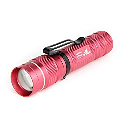 Ultrafire Pocket Torch Zoomable Led Torch 3 Modes 300 Lumen Bright Small Flashlight Adjustable Focus,j3,waterproof Tactical Torch (Pink)