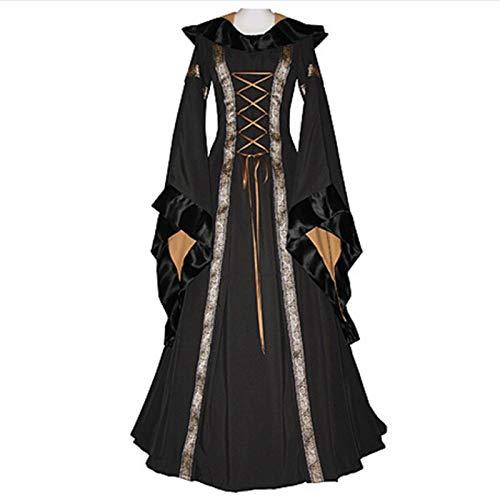 Black Robe Kapuze Kostüm Mit - FHSIANN Erwachsene Frauen Halloween Königliche Prinzessin Kostüm Mittelalter Mit Kapuze Robe Vintage Ren