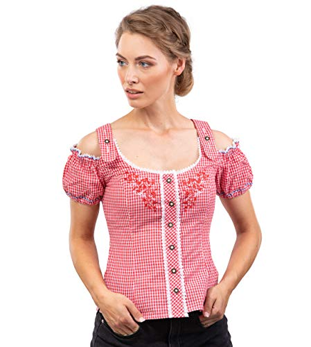 Schöneberger Trachten Couture Trachtenbluse Alpenklee - Elegante, Karierte Bluse im Carmenstil mit Stickereien - tailliert & verstellbar - div. Farben (32, Rot/Weiss mit Stick)