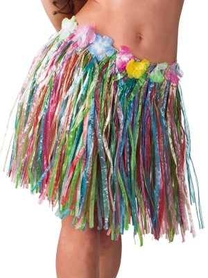 Partysanthe Hawaiian Skirt Multi Colour/Decorative Floral Hawaiian Skirt, Red/Plastic Fibers Kid Grass Skirts Hula Skirt Hawaiian Costumes Girl Dress