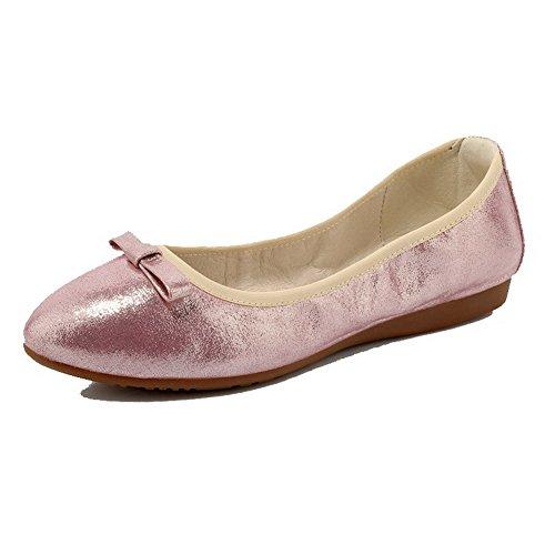 AllhqFashion Damen Rein Ohne Absatz Ziehen auf Rund Zehe Flache Schuhe, Pink, 34 -