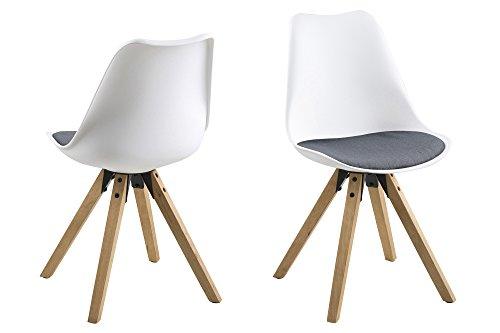 AC Design Furniture Stuhl Nadia, B: 48,5 x T:55 x H: 85 cm, Stoff, Weiss -
