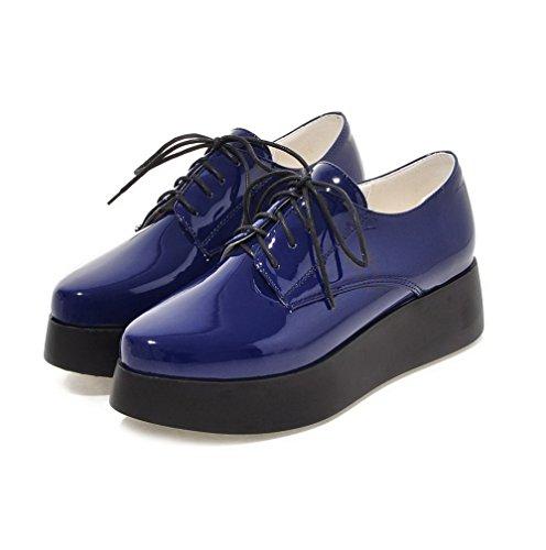 VogueZone009 Femme Couleur Unie Verni à Talon Correct Lacet Pointu Chaussures Légeres Bleu