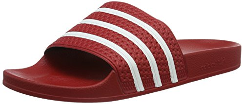 Adidas Adilette, Unisex-Erwachsene Badeschuhe, Rot (Light Scarlet/White/Light Scarlet), 42 EU 8 UK - Light Textile Display