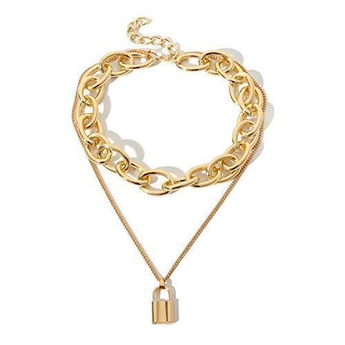 JZTRADING Schloss Choker Kragen Armband Set anhänger Klassische einstellbar einfache Kette Halskette für Damen mädchen Frauen Party zubehör (Gold a) - Bogen Halskette