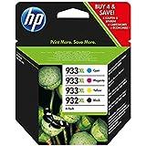 HP 932XL/933XL Pack de 4 Cartouches d'Encre Noir/Cyan/Magenta/Jaune Grande Capacité Authentiques (C2P42AE)