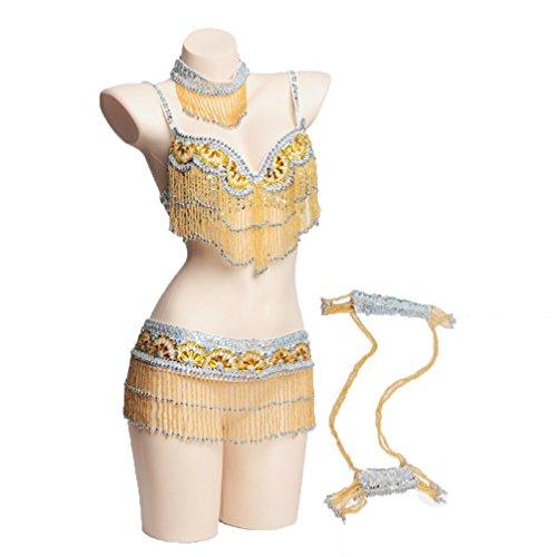 Rongg Professioneller Bauchtanzanzug für Frauen BH Gürtel Halsband Armhülse Bauchtanz-Outfit mit Perlen Franse Mehr Farbe, Gold, ()
