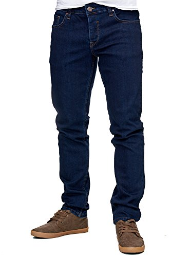 Reslad Jeans-Herren Slim Fit Basic Style Stretch-Denim Jeans-Hose RS-2063 Dunkelblau W34 / L32