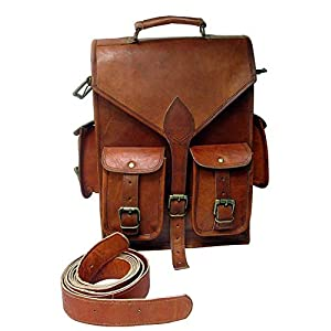 Handgefertigte Vintage Unisex aus reinem Leder Tracking Rucksack Sling Wanderrucksack Reisen Outdoor, Schultertasche   Mit Kostenlosem Versand