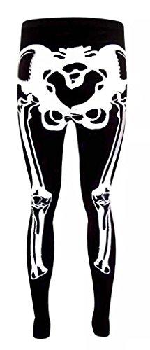 H & F Girl-Donna Halloween scheletro fantasma Bon Stampa Digitale Body Elasticizzato Midi Tunica Vestito Pieno Manica Scoop Collo Bodycon Legging partito Top Plus dimensioni 8101214161820222426 Black Skeleton Legging 44-46