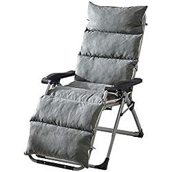 MSM Klappbar Liege Sitzkissen, Verdicken sie Gepolsterte Anti-rutsch Wildleder Terrasse Garten Bett Liege Relaxer Stuhl Topper-grau 155x50x12cm