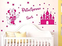 Idea Regalo - Adesivi Murali bambini nome personalizzato Minnie e castello magico con stelline Wall Stickers personalizzato cameretta bambina nome principessa,misure media e grande (grande:120x60cm)