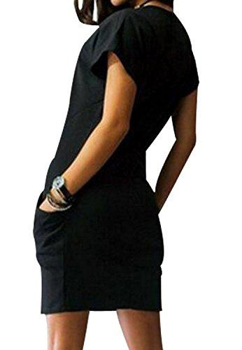 Vestiti Donna Estivi Eleganti Manica Corta Rotondo Moda Casual Collo Abito Vintage Tinta Unita Con Tasca Corti Camicia Vestito Vestitini Nero