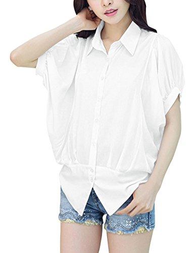 Damen Knöpfe Punktkragen Flügelärmel Gerüscht Freizeithemd Weiß