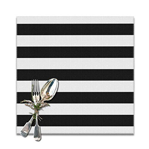 Lilyo-ltd, set di 6 tovagliette all'americana a righe nere e bianche, lavabili, 30,5 x 30,5 cm