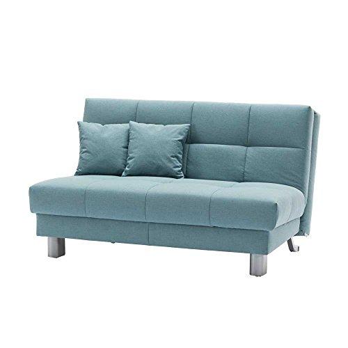 Pharao24 Schlafcouch in Blau Grün klappbar Breite 125 cm Höhe 82 cm Sitzplätze 2 Sitzplätze