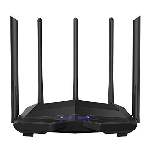 SUKAI Gigabit Dual-Band AC1200 Wireless Router WLAN-Repeater mit 5 * 6 dBi High Gain-Antennen Breitere Abdeckung, Einfache Einrichtung,Schwarz