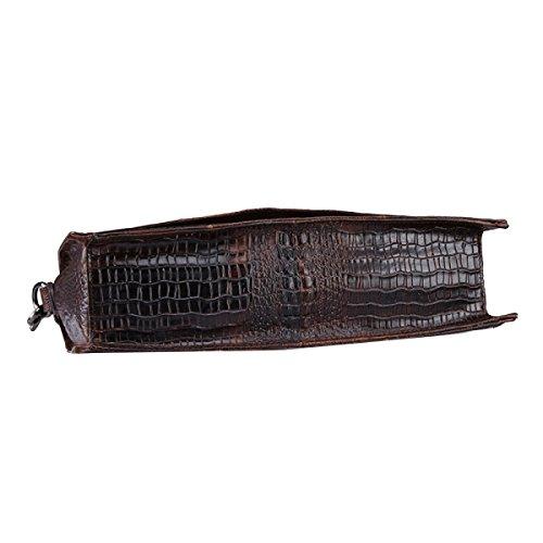 Yy.f Neue Leder Dünne Schulterkurierbeutel Freizeit Erste Schicht Aus Leder Mann Tasche Krokodilhaut Ölwachs Geschäftsunterlagen Wellenpaket Brown